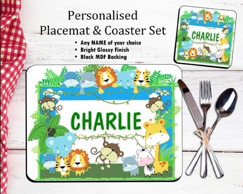 Personalised Placemat & Coaster Set N15 - Jungle Animals